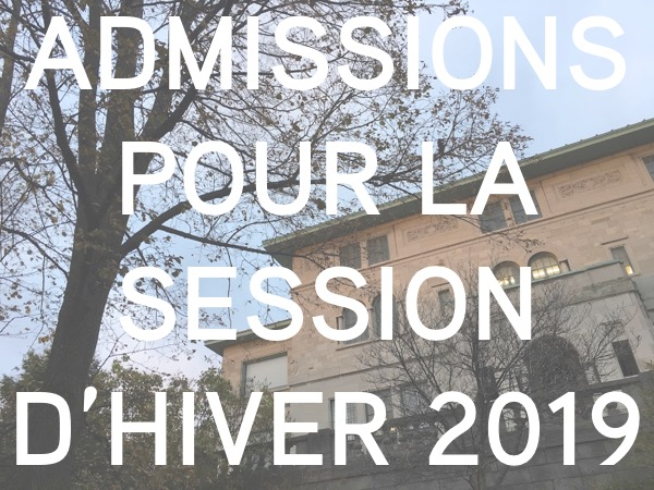 Admission hiver 2019