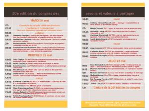 Programme du 20e Congrès des savoirs et valeurs à partager